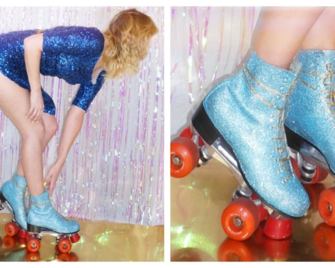 disco glitter roller skates metallic iridescent sequins